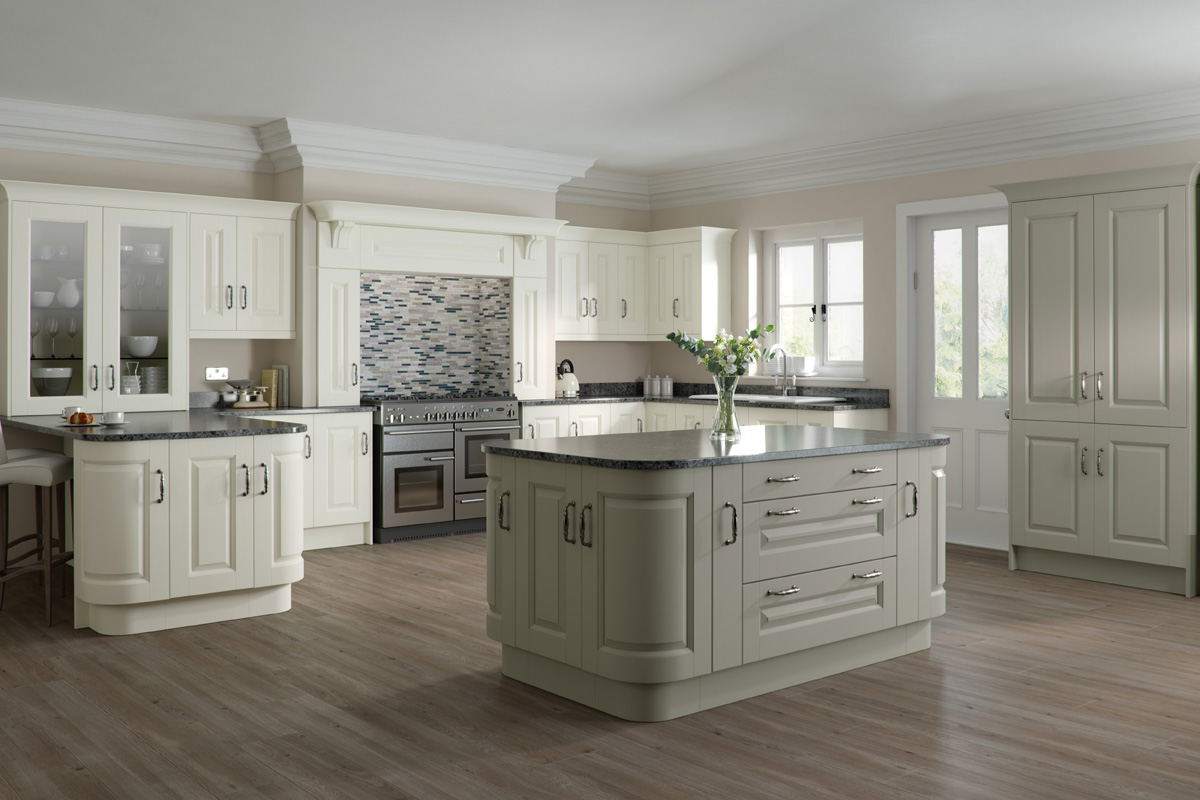 SCULPTURED PAINTED IVORY & LIGHT GREY
