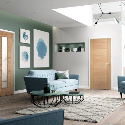 Vancouver 5P Oak_Long light - Modern living room Green Wall_72ppi